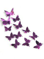 12 Pcs / Set Miroir Plan 3D Papillon DIY Wall Sticker -