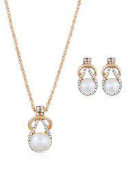 Rhinestone Inlaid Faux Pearl Alloy Jewelry Set -