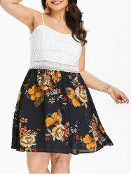 Lace Insert Plus Size Floral Print Fit and Flare Dress -