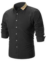 Panel Collar Button Up Slim Fit Shirt -