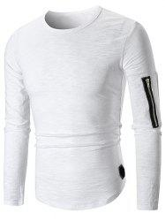 T-shirt Applique Embelli de Zip à Col Rond -