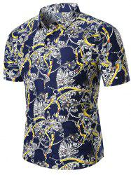 Turn Down Collar Flower Chain Print Shirt -