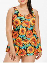 Plus Size Sunflower Tiered Tankini Set -
