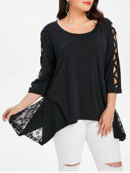 Lace Panel Plus Size Asymmetrical Top -