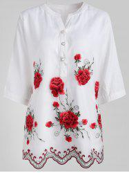 Buttoned Embroidered Blouse -