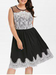 Plus Size Sheer Yoke Eyelash Lace Trim Dress -