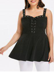 Plus Size Lace Up Grommet Tank Top -