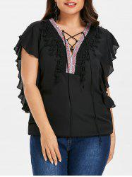 Lace Up Plus Size Ethnic Print Blouse -