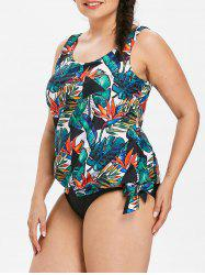 Plus Size Tropical Leaf Blouson Tankini Set -