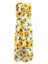 Sunflower Print High Low Strapless Boho Dress -