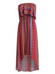 Tribal Print High Low Strapless Boho Dress -