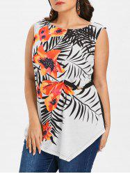 Plus Size Flower Asymmetrical Tank Top -