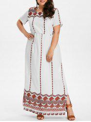 Plus Size Ethnic Pattern Maxi Dress -