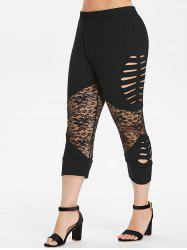 Plus Size Lace Insert Capri Leggings -