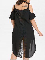 Plus Size Cold Shoulder Asymmetrical Longline Blouse -