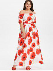 Plus Size Off Shoulder Floral Dress -