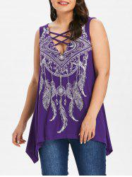 Feather Print Plus Size Asymmetrical T-shirt -
