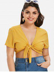 Plus Size Polka Dot Knot Crop Top -