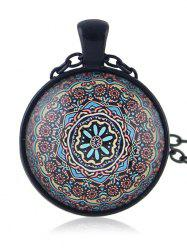 Round Shaped Printed Drop Necklace -