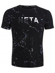 Ink Paint Print Letter Short Sleeve Tee -