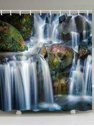 Rocks Waterfall Print Bath Waterproof Shower Curtain -