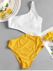 Ribbed Cut Out One Piece Swimsuit -