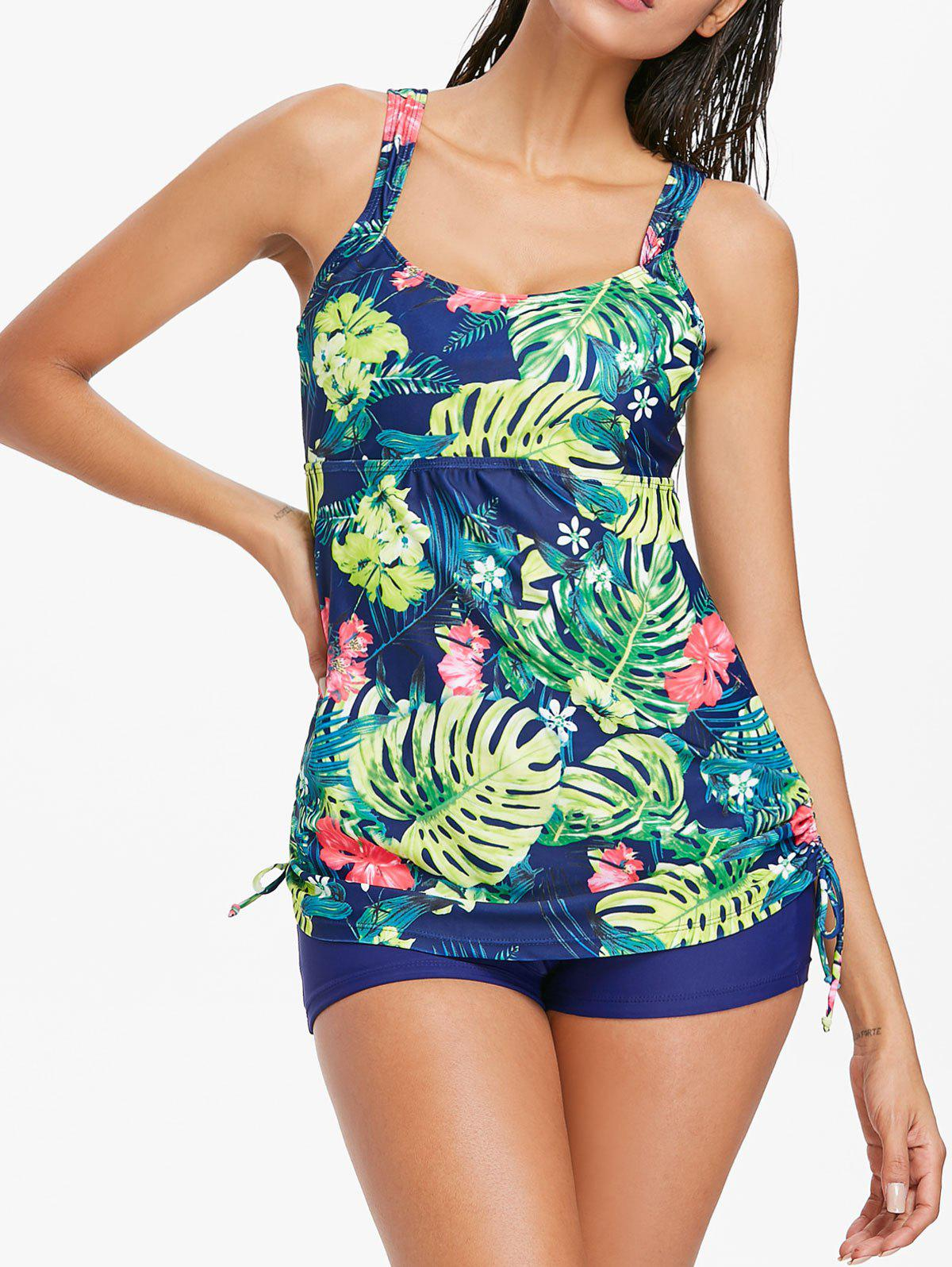 Fancy Flower Ruched Tankini Set