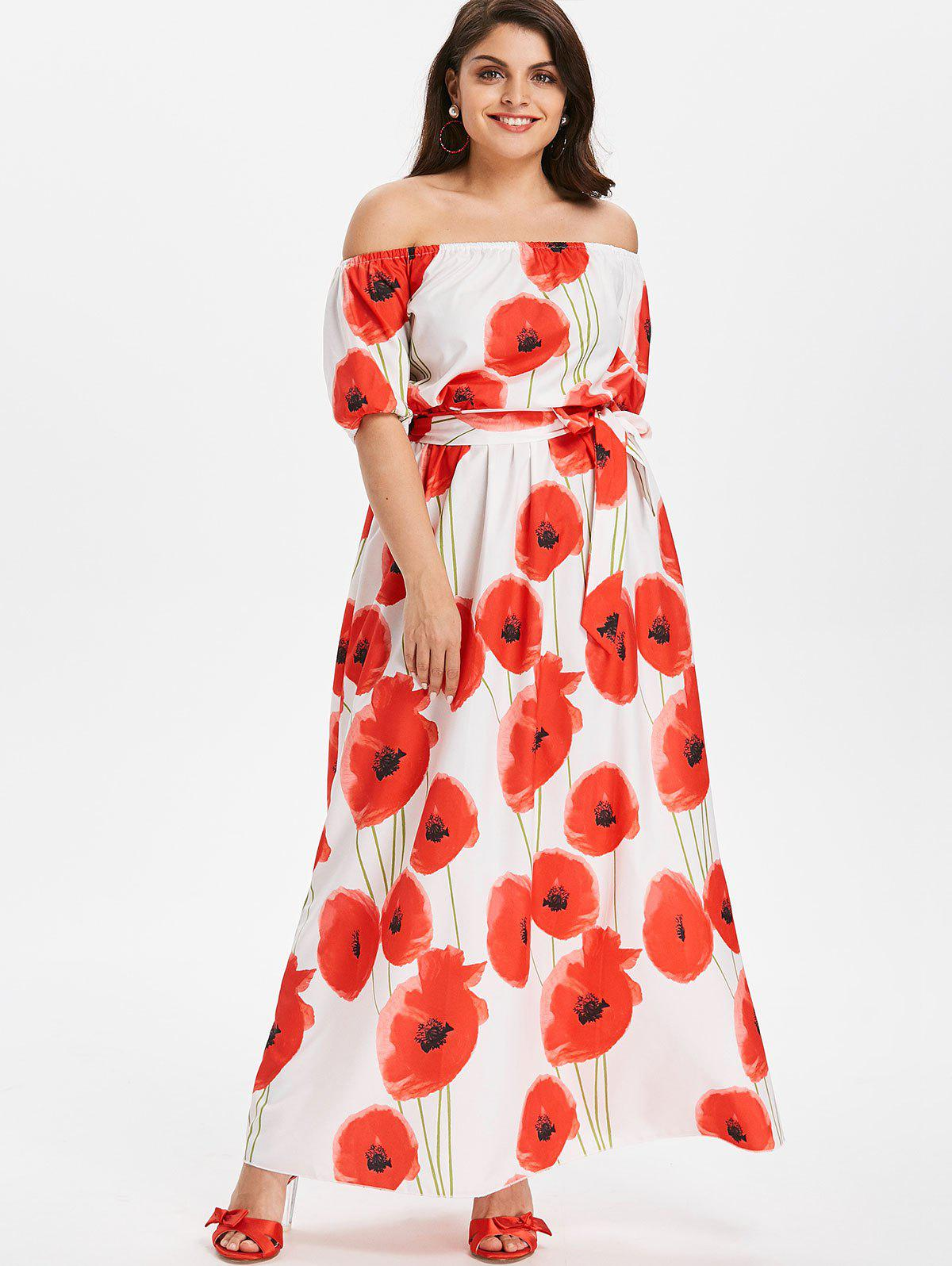 Buy Plus Size Off Shoulder Floral Dress