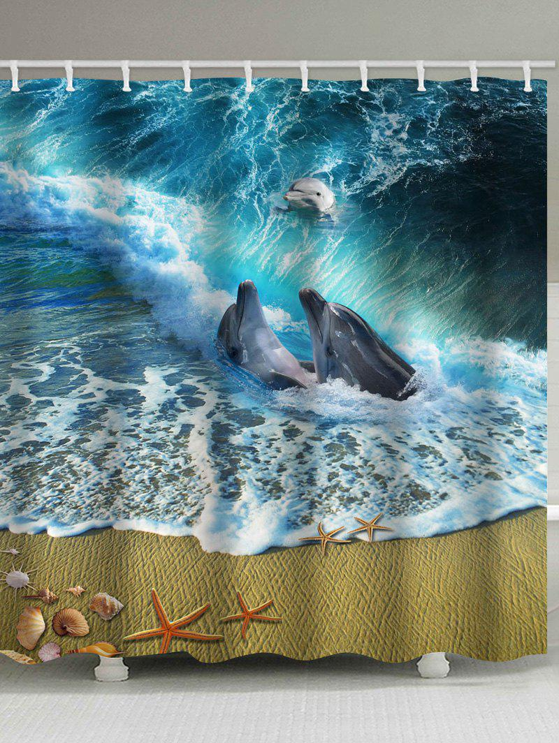 Store 3D Seaside Dolphins Playing Print Shower Curtain
