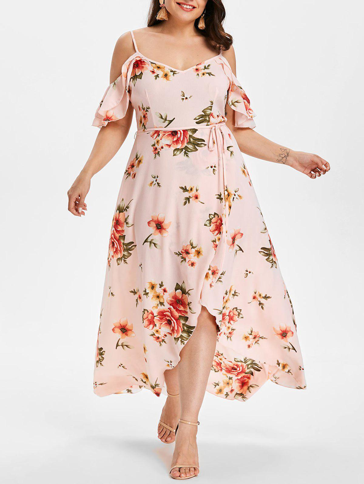 29% OFF] Plus Size Hawaiian Cold Shoulder Maxi Dress | Rosegal