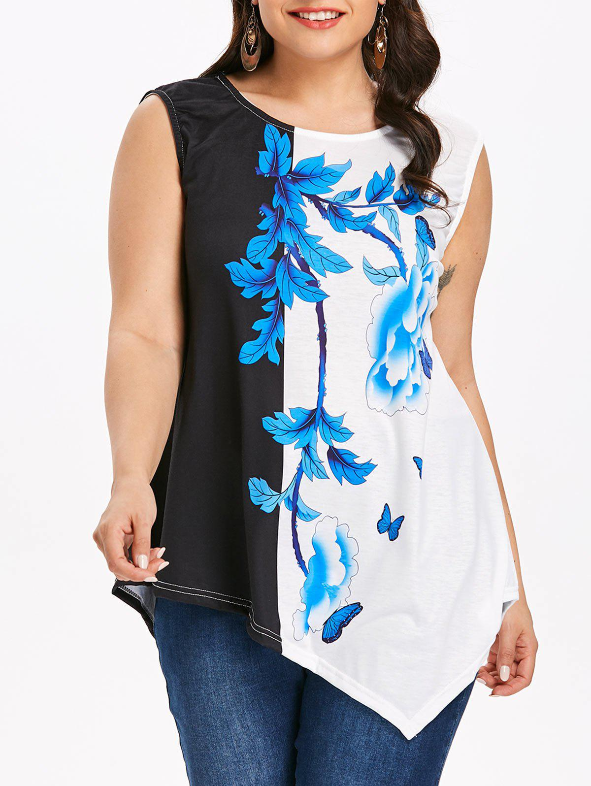 New Plus Size Flower Asymmetrical T-shirt