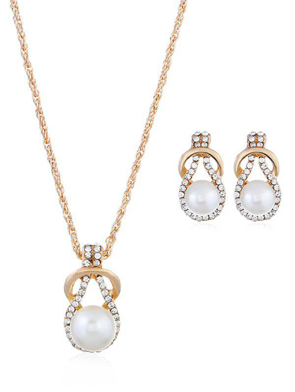 Latest Rhinestone Inlaid Faux Pearl Alloy Jewelry Set