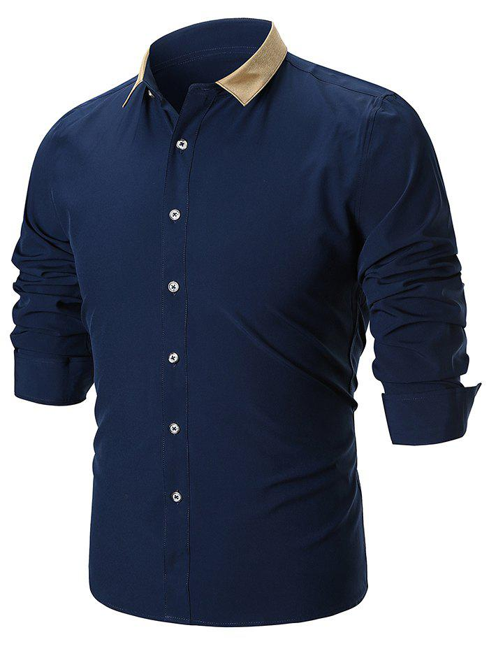 Online Panel Collar Button Up Slim Fit Shirt