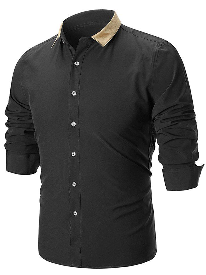 Fancy Panel Collar Button Up Slim Fit Shirt