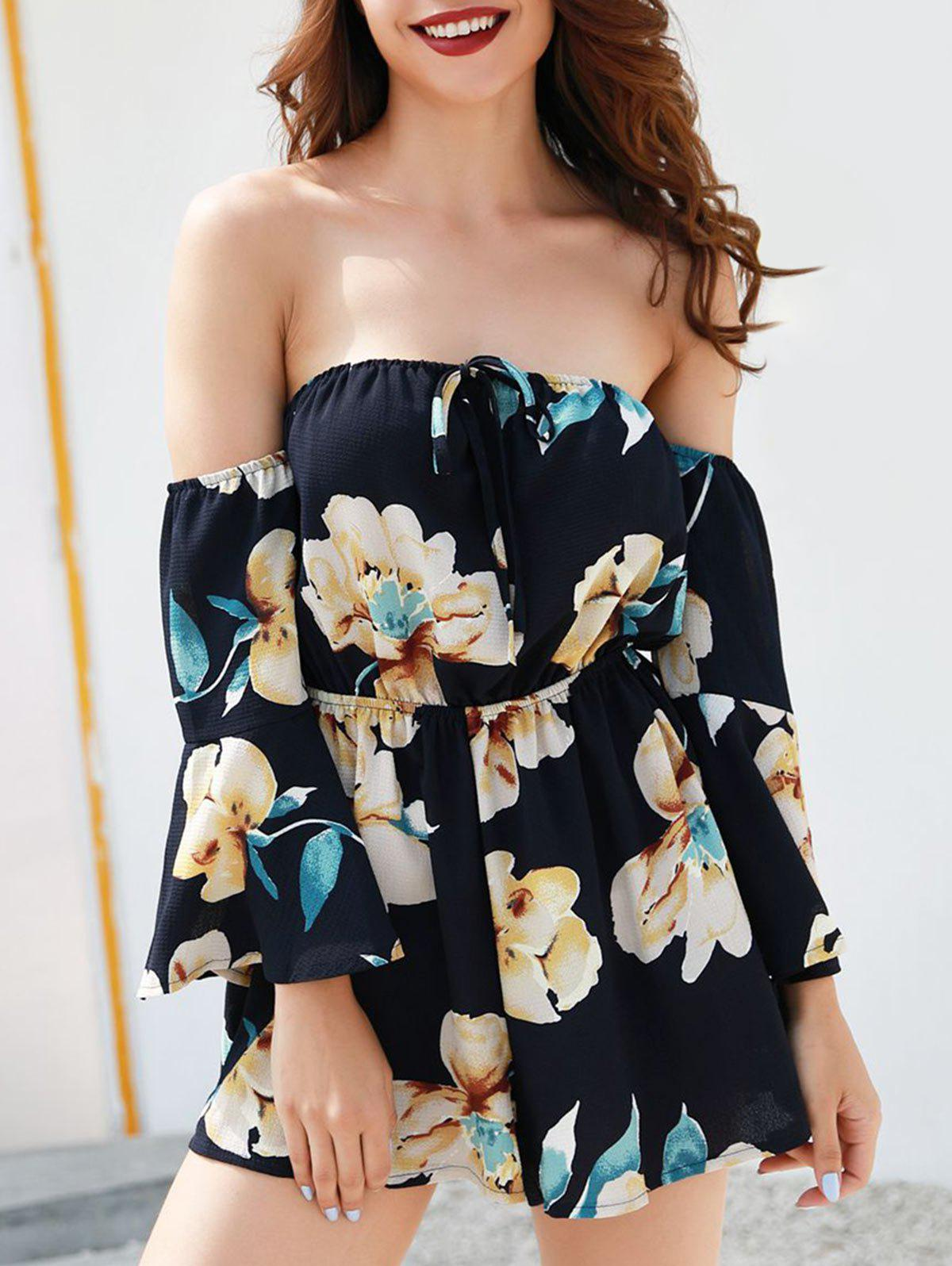 Fashion Bell Sleeve Floral Print Romper