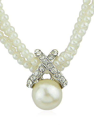 Affordable Retro 3 Row Pearls Party Necklace