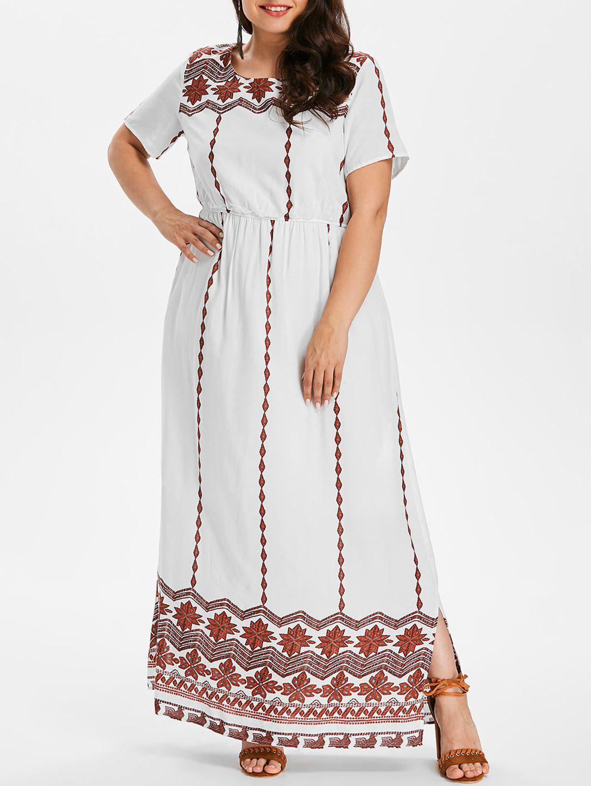 Fashion Plus Size Ethnic Pattern Maxi Dress
