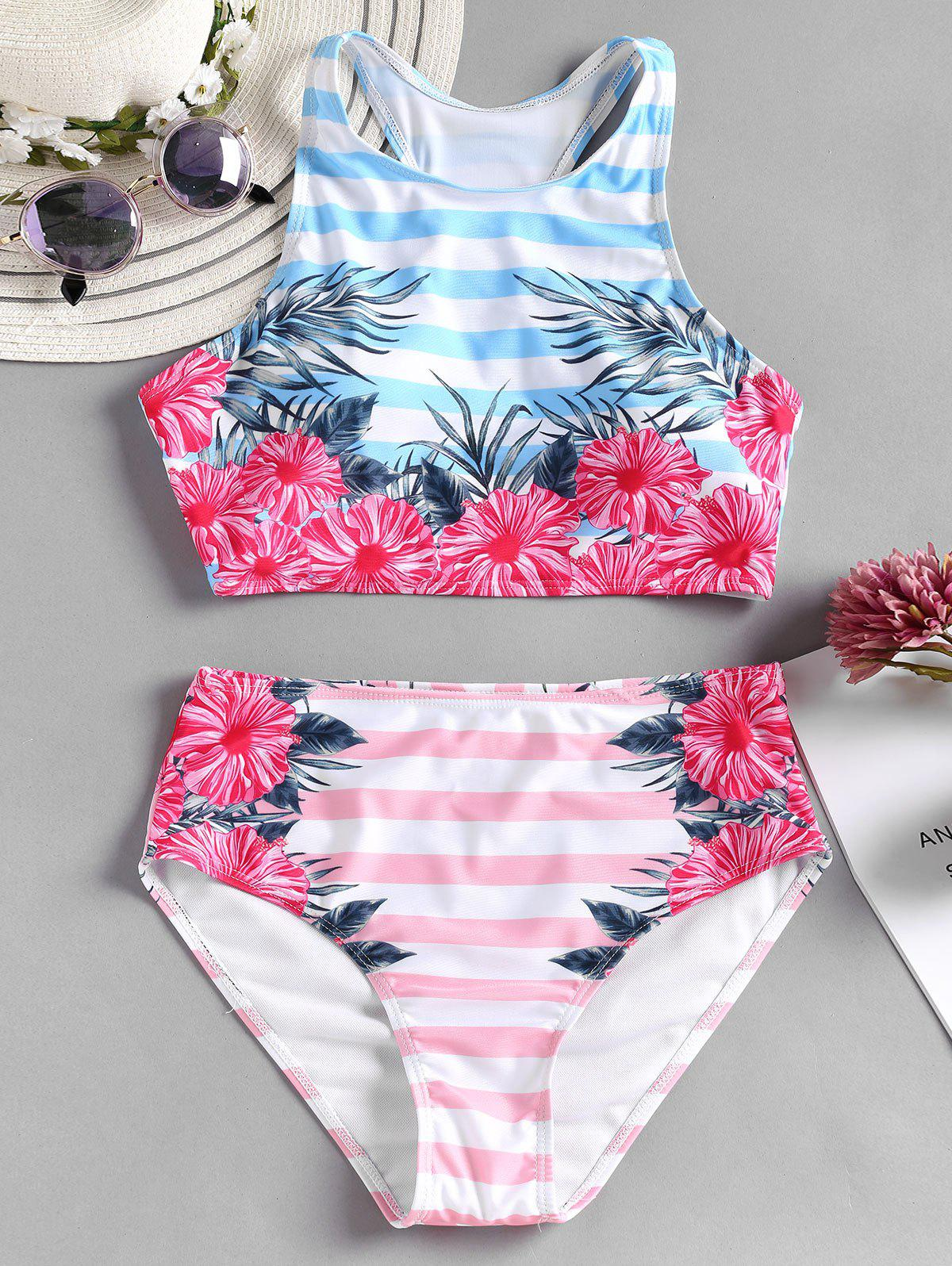 Outfit Flower Striped Racerback Bikini Set