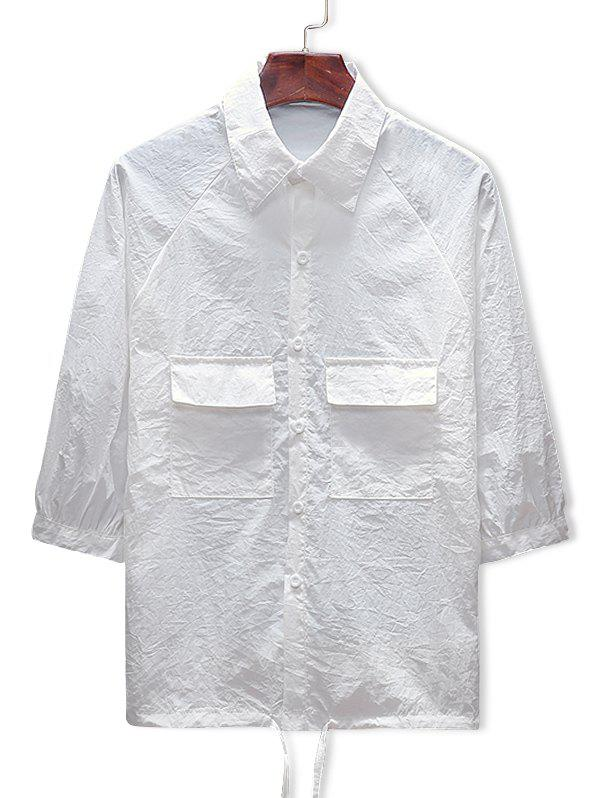 Shops Two Pockets Button Up Drawstring Hem Sunscreen Jacket