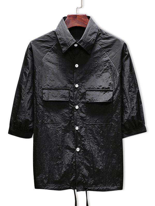 Discount Two Pockets Button Up Drawstring Hem Sunscreen Jacket