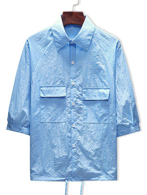 Fancy Two Pockets Button Up Drawstring Hem Sunscreen Jacket