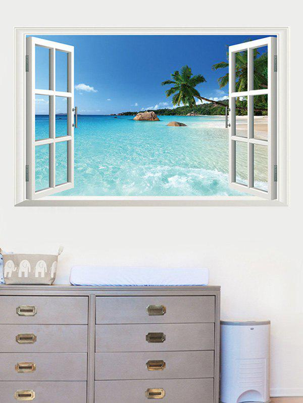 New 3D Fake Window Seaside Removable Wall Sticker