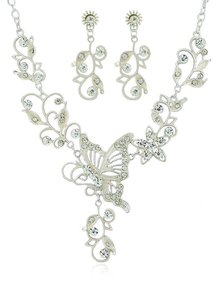 Buy Butterfly Flower Decoration Rhinestone Pendant Necklace with Earrings