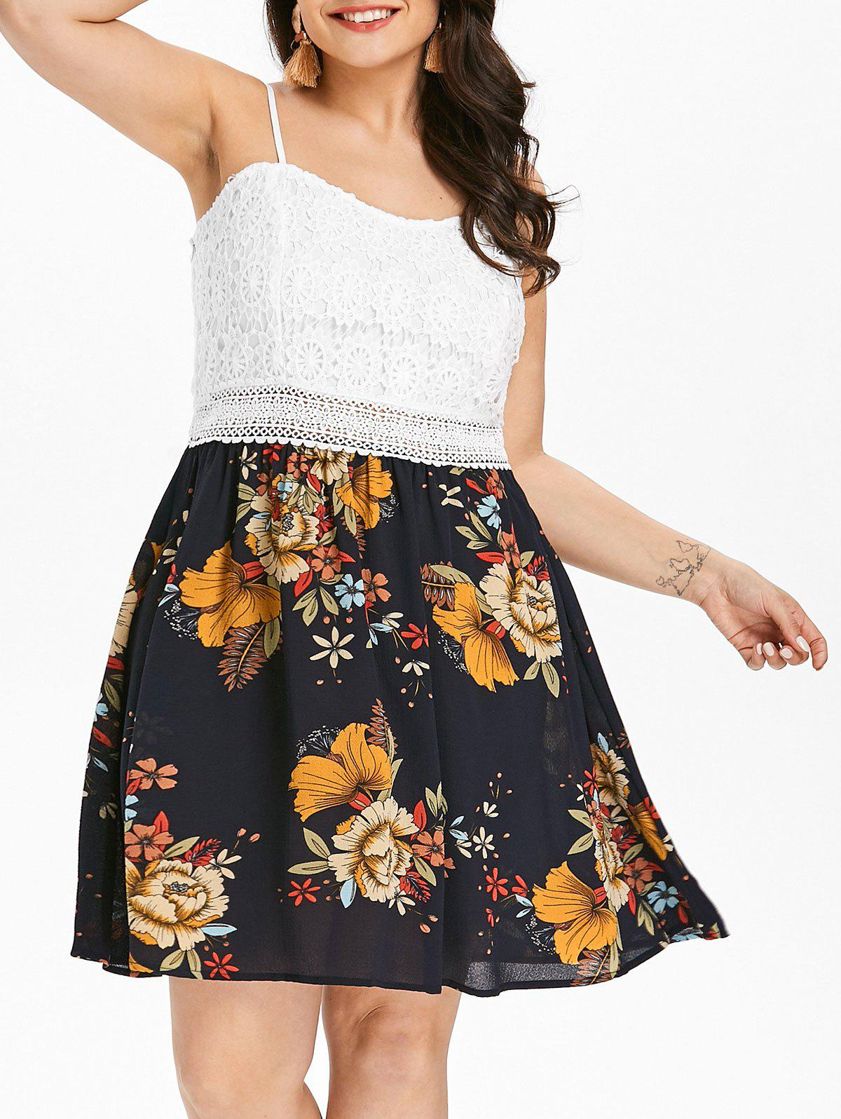 Affordable Lace Insert Plus Size Floral Print Fit and Flare Dress