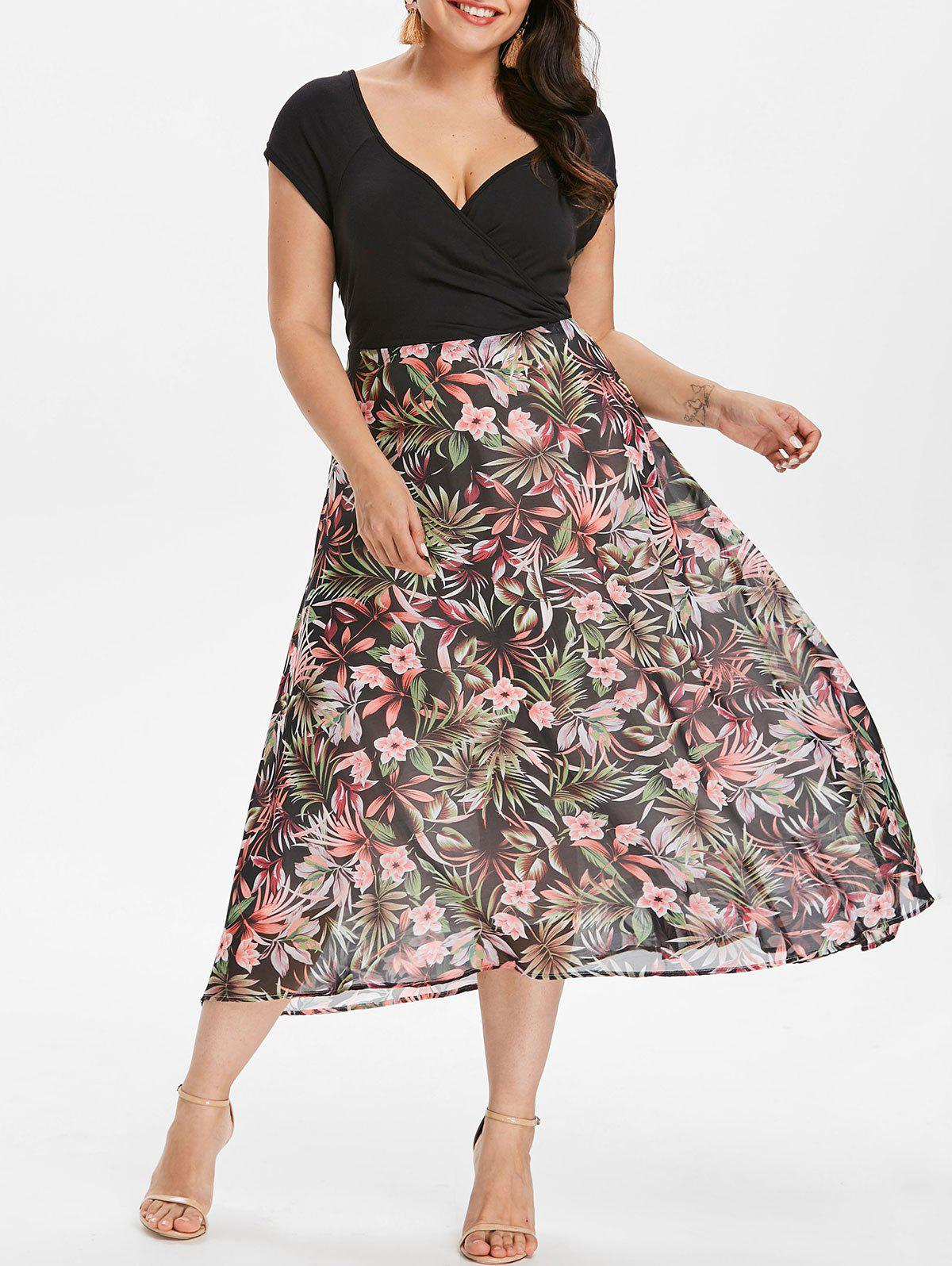 Hot Plus Size V-neck Tropical Holiday Dress