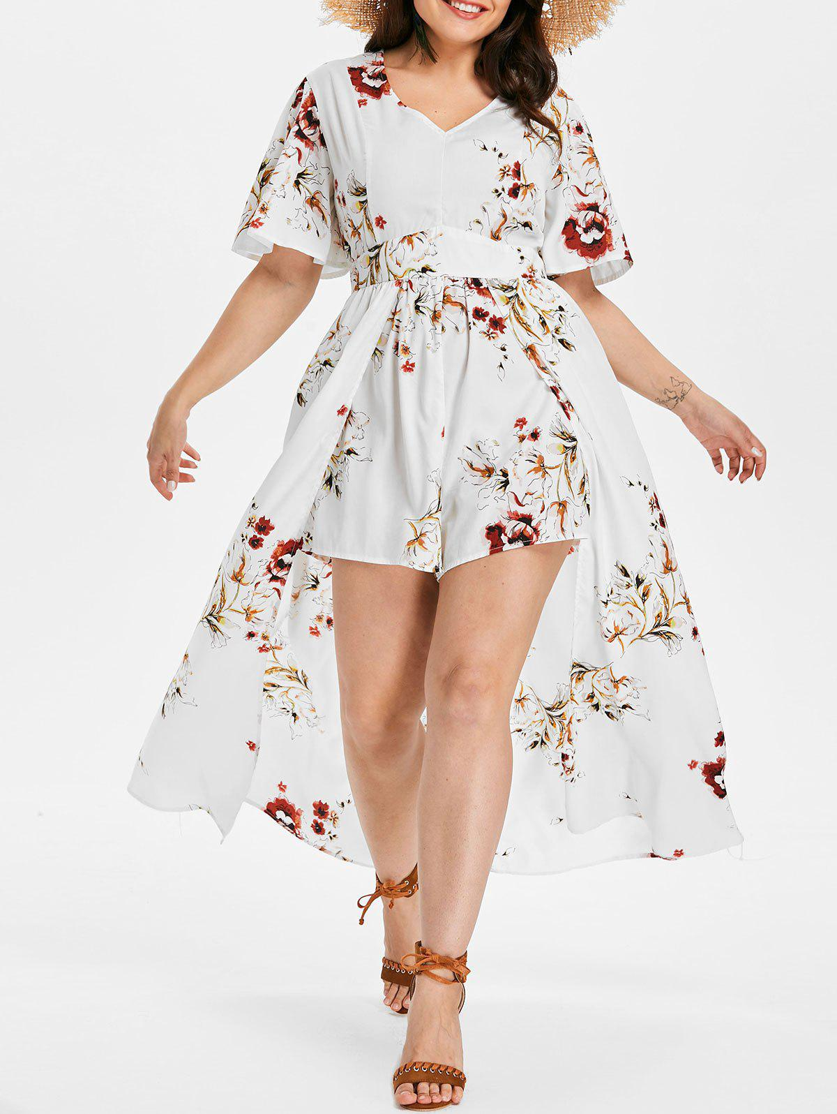 Store Back Cut Out Plus Size Floral Print Romper