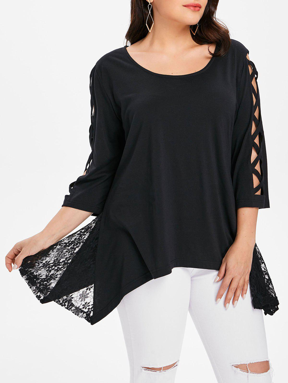 Best Lace Panel Plus Size Asymmetrical Top