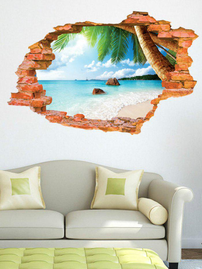 2019 3d broken wall brick sea removable wall sticker | rosegal
