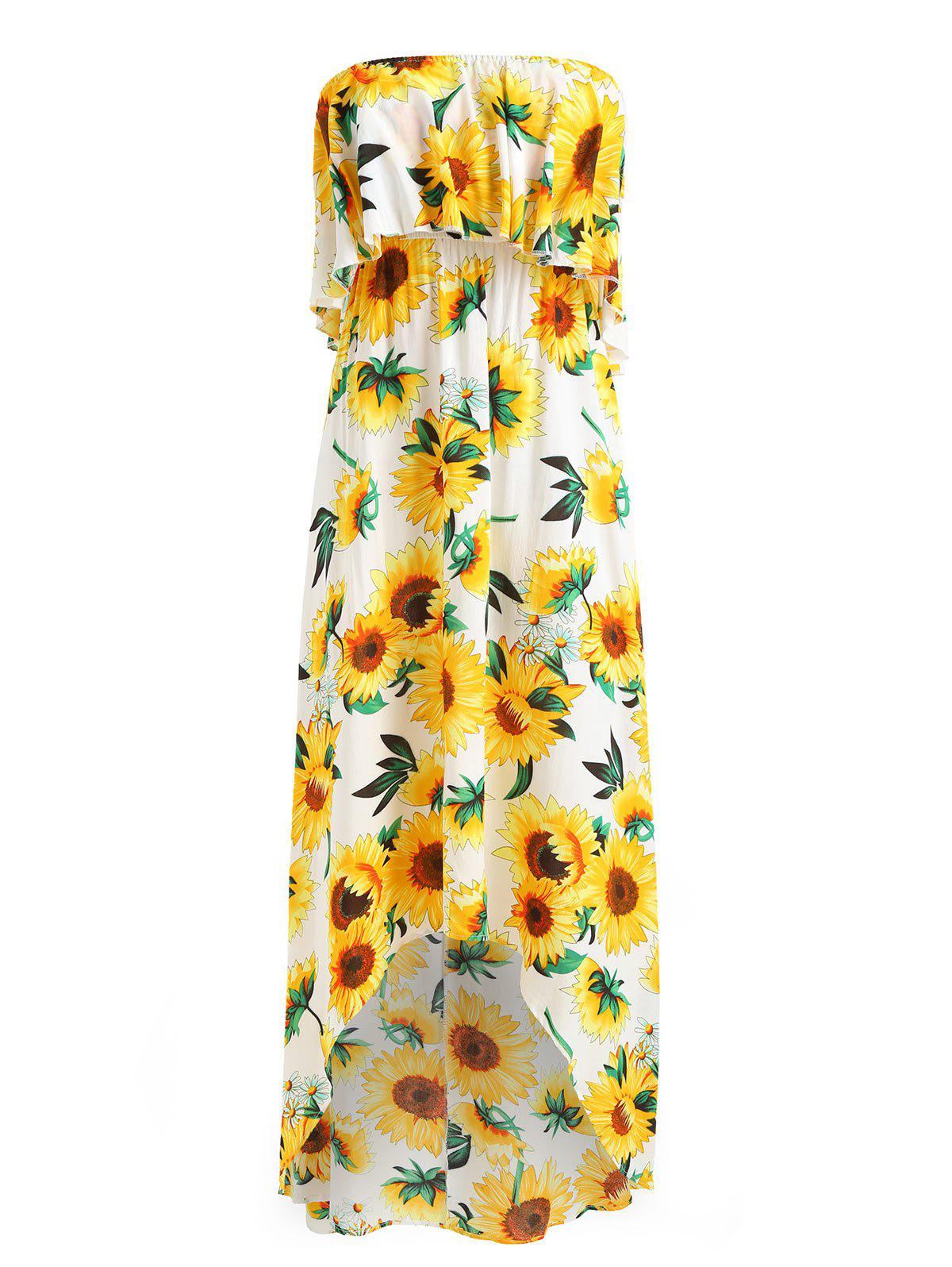 Best Sunflower Print High Low Strapless Boho Dress