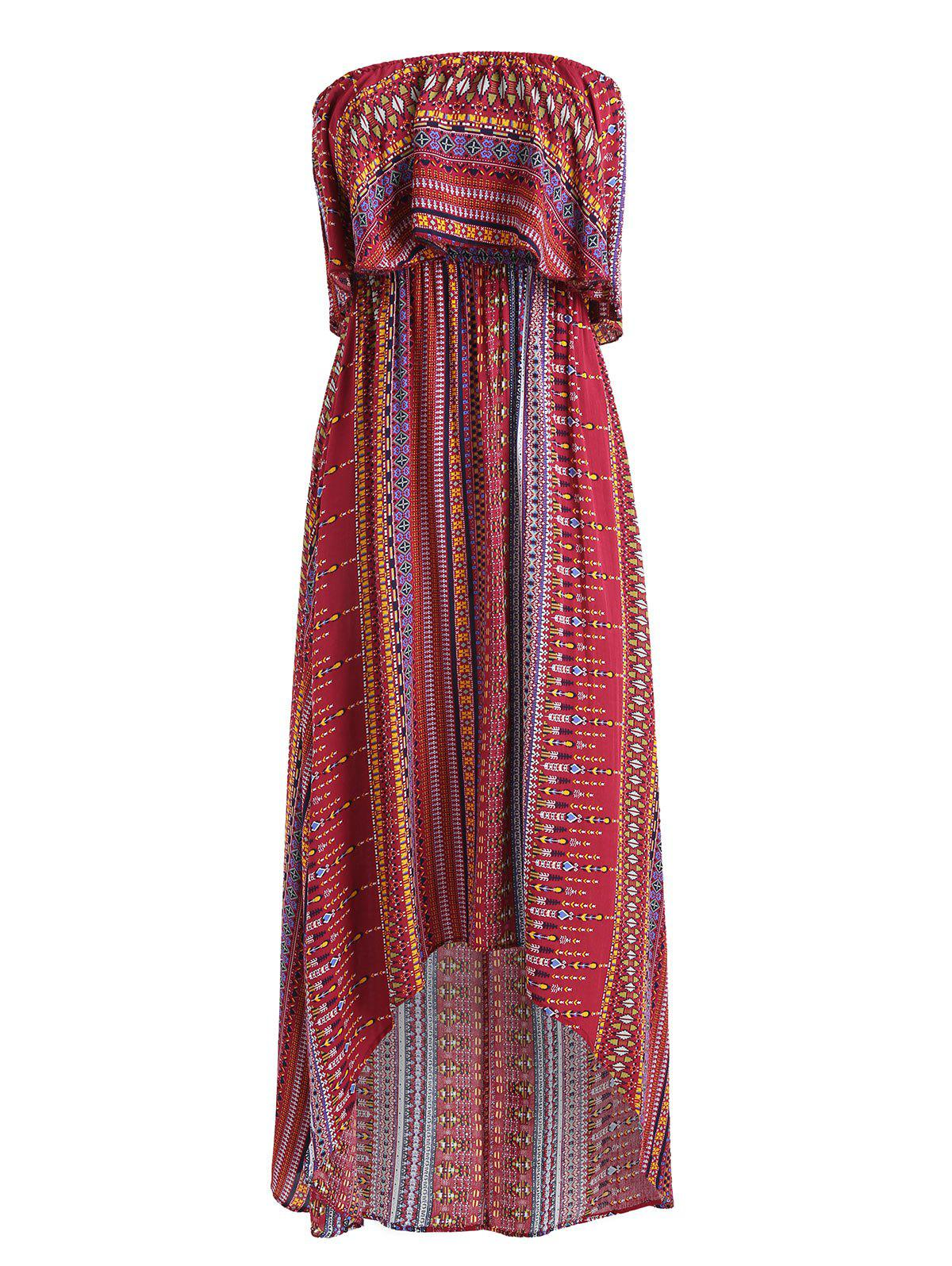 Shop Tribal Print High Low Strapless Boho Dress